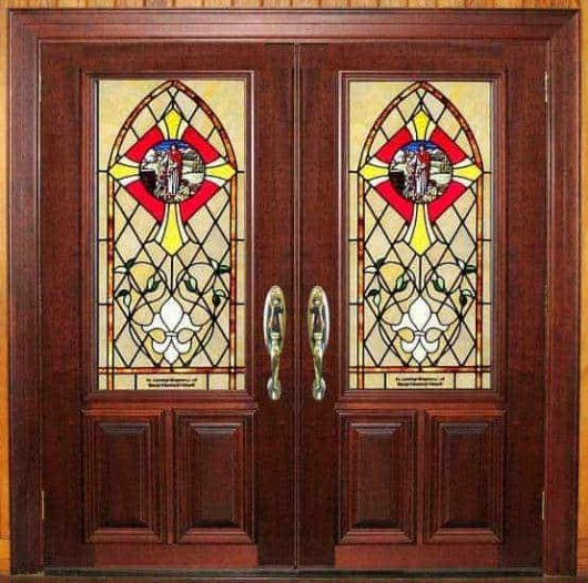 dbyd7015 lb - church leaded glass doors - Doors by Decora