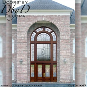 estate large leaded glass entry with transom windows