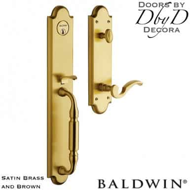 Baldwin satin brass and brown devonshire handleset.