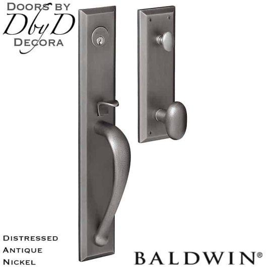 Baldwin distressed antique nickel cody full handleset.