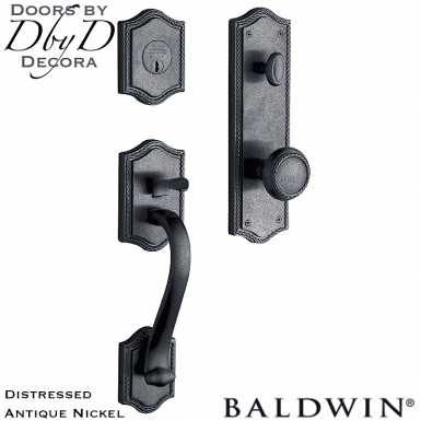 Baldwin distressed antique nickel bristol handleset.
