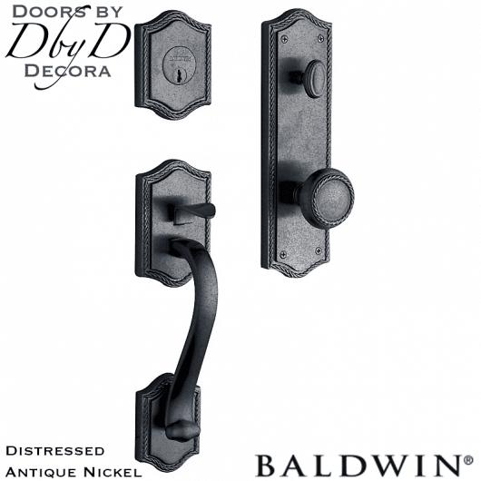 Baldwin distressed antique nickel bristol handleset.