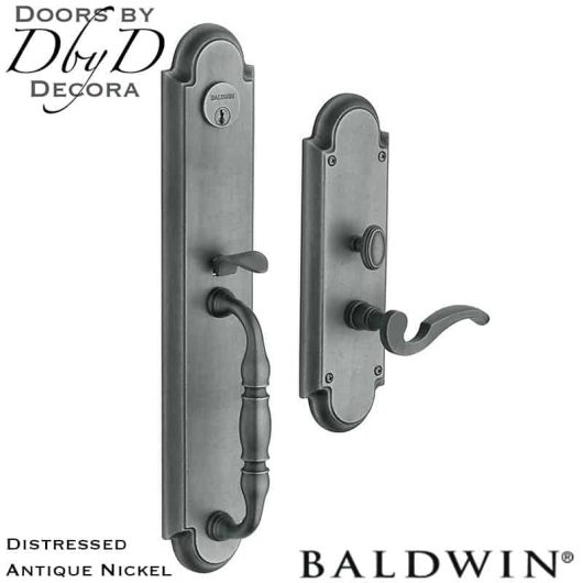 Baldwin distressed antique nickel hamilton handleset.