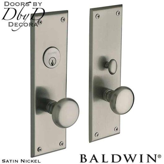 Baldwin satin nickel baltimore entrance trim.