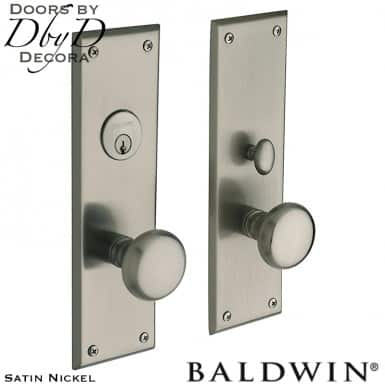 Baldwin satin nickel baltimore entrance trim.