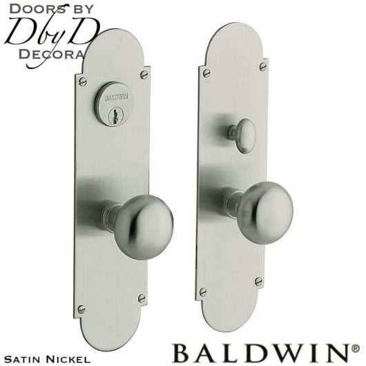 Baldwin satin nickel boston entrance set.