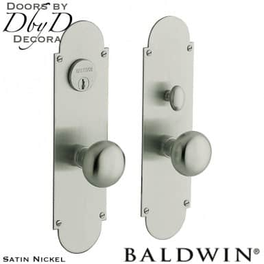 Baldwin satin nickel boston entrance set.