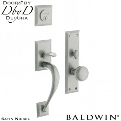 Baldwin satin nickel concord handleset.