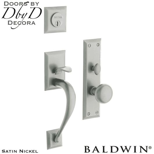 Baldwin satin nickel concord handleset.