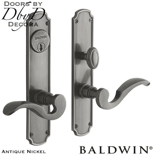 Baldwin antique nickel bismark entrance trim.