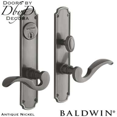 Baldwin antique nickel bismark entrance trim.