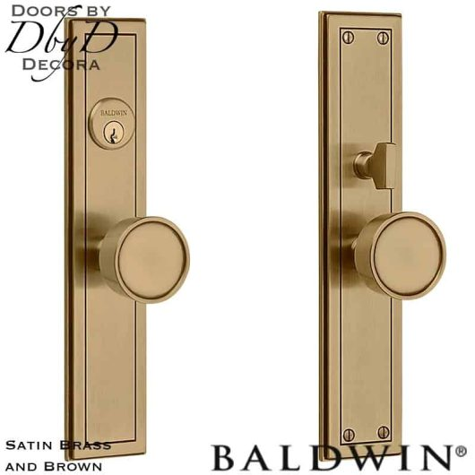 Baldwin satin brass and brown hollywood hills entry trim.