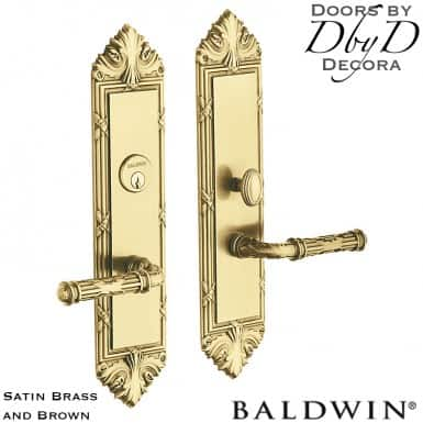 Baldwin satin brass and brown fenwick entrance trim.