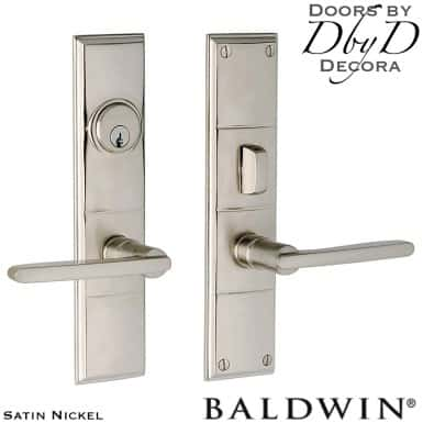 Baldwin satin nickel houston entry trim.