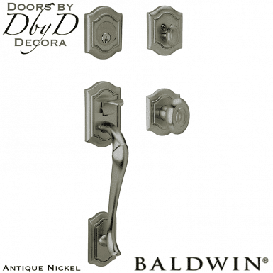 Baldwin antique nickel beth page sectional handleset.