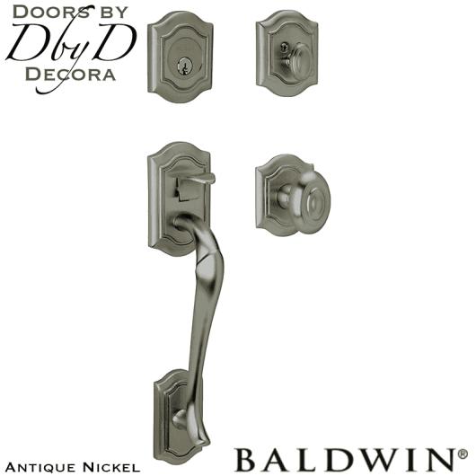 Baldwin antique nickel beth page sectional handleset.