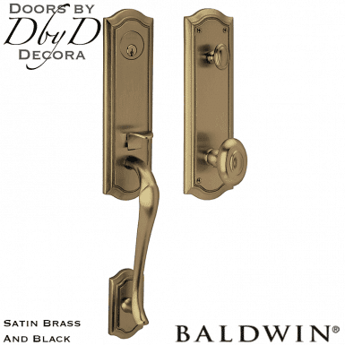 Baldwin satin brass and black beth page 3/4 handleset.