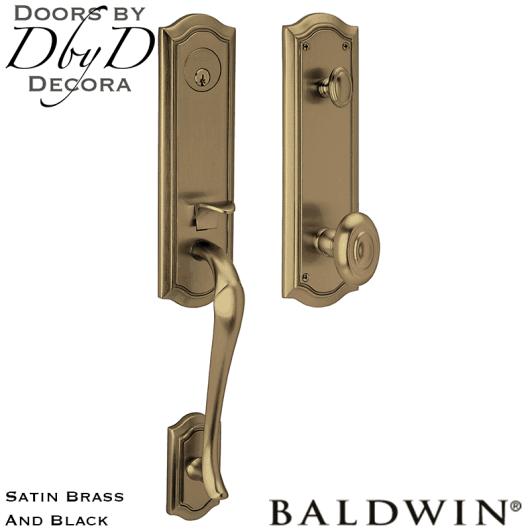 Baldwin satin brass and black beth page 3/4 handleset.