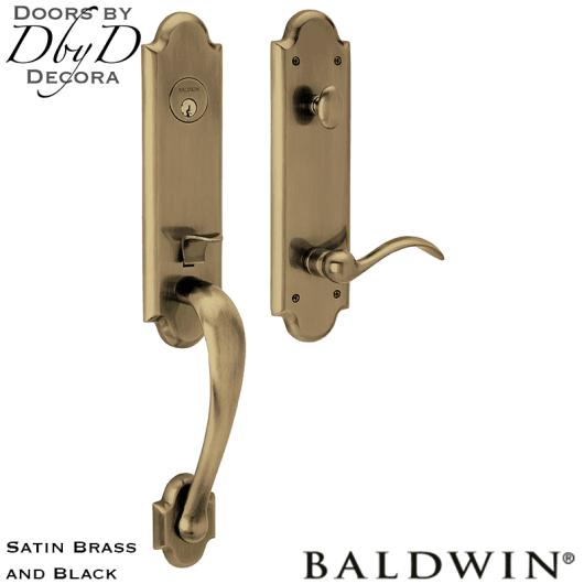 Baldwin satin brass and black boulder 3/4 handleset.