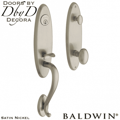 Baldwin satin nickel blackly handleset.