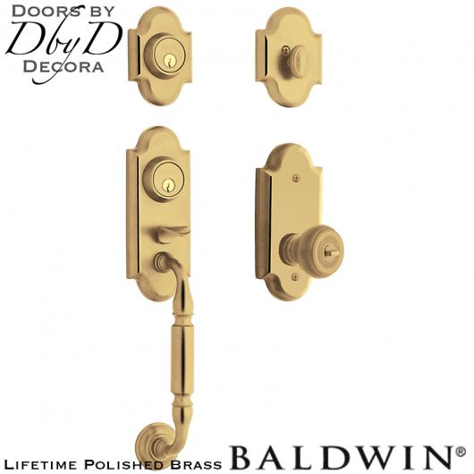 Baldwin polished brass ashton two-point lock handleset.