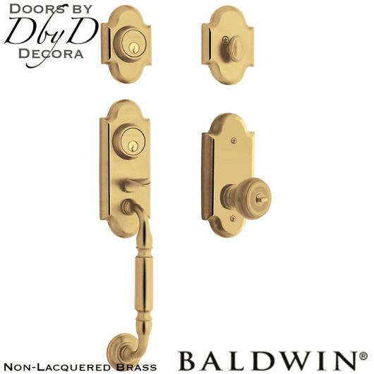 Baldwin non-lacquered brass ashton two-point lock handleset.