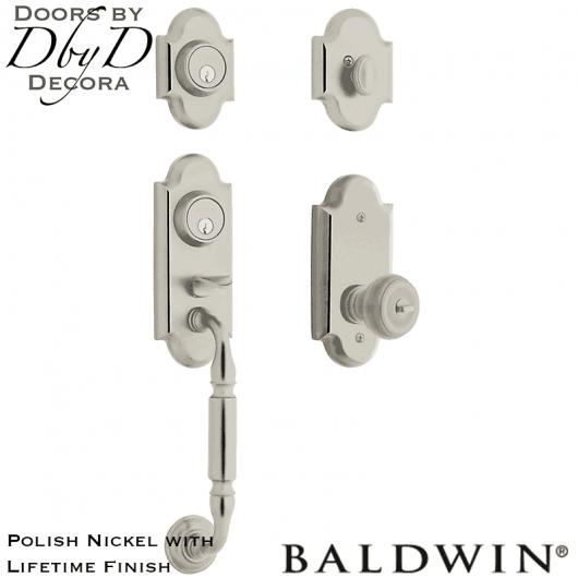 Baldwin polish nickel ashton two-point lock handleset.