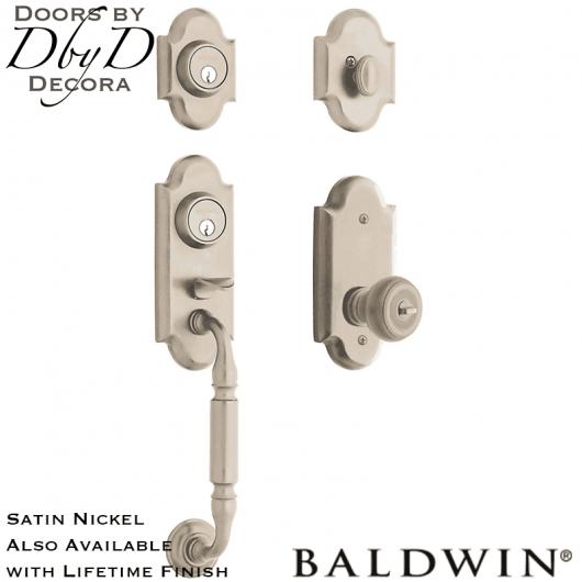Baldwin satin nickel ashton two-point lock handleset.