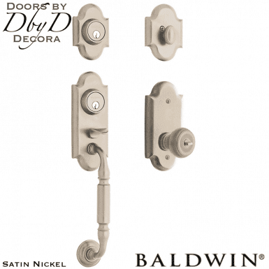 Baldwin satin nickel ashton two point lock handleset.