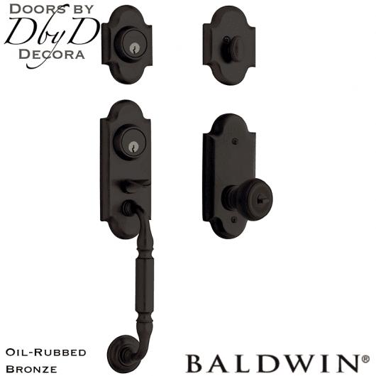 Baldwin oil rubbed bronze ashton two-point lock handleset.