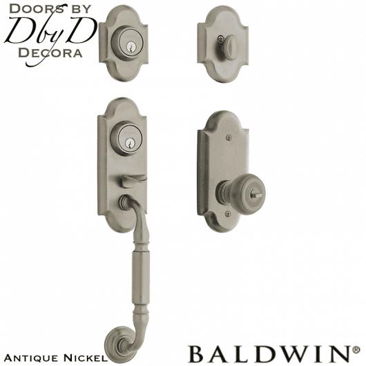 Baldwin antique nickel ashton two-point lock handleset.