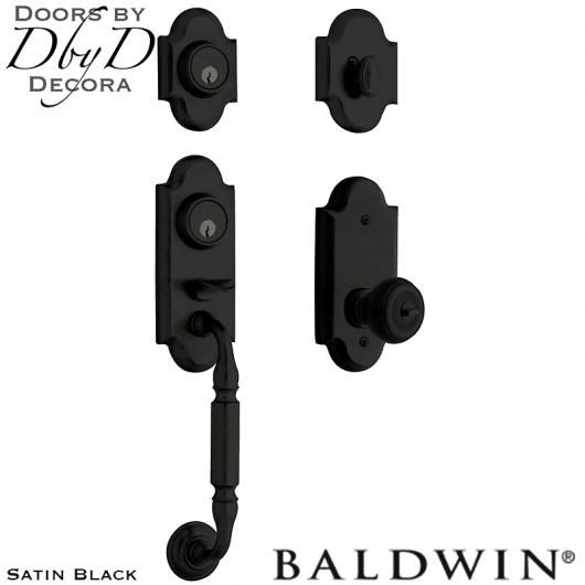 Baldwin satin black ashton two-point lock handleset.