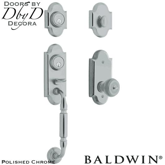 Baldwin polished chrome ashton two-point lock handleset.