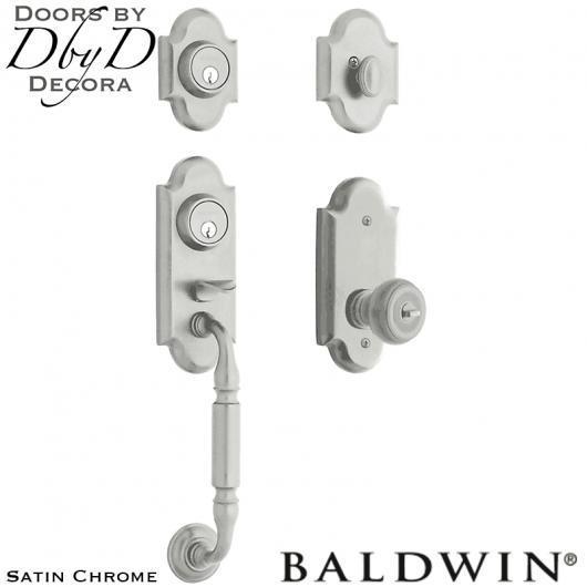 Baldwin satin chrome ashton two-point lock handleset.
