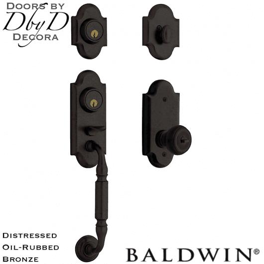 Baldwin distressed oil rubbed bronze ashton two-point lock handleset.