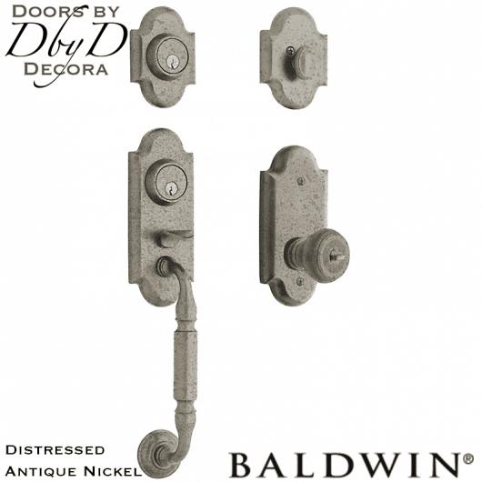 Baldwin distressed antique nickel ashton two-point lock handleset.