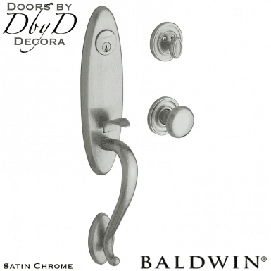 Baldwin satin chrome buckingham handleset.