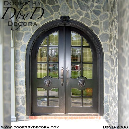 french country lion head doors