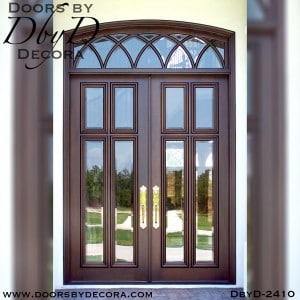 french country 4-lite doors and transom window