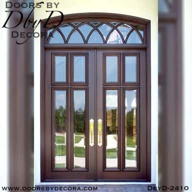 french country 4-lite doors and transom