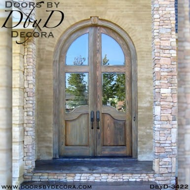 old world tall radius double doors
