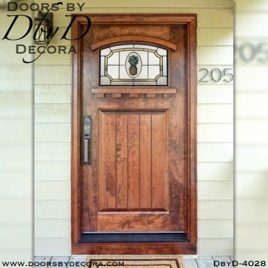 craftsman door with pineapple glass