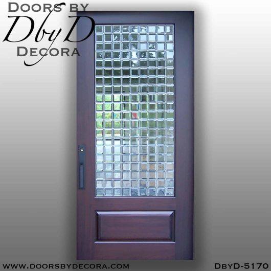 contemporary 1-lite leaded glass door