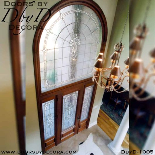 estate leaded glass door and transom