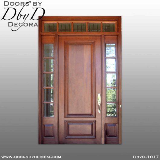 estate wood door sidelites and transom