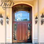 estate wood door and leaded glass transom