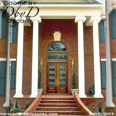 estate leaded glass double doors with transom