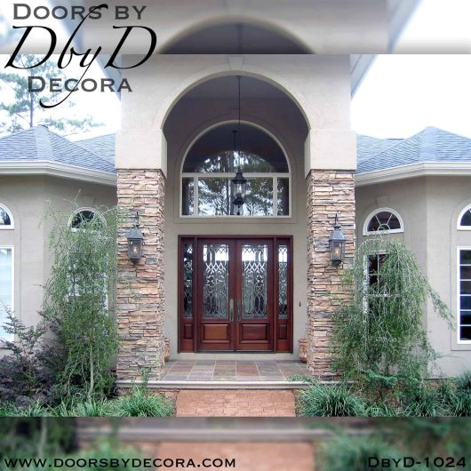 estate leaded glass double doors and sidelites