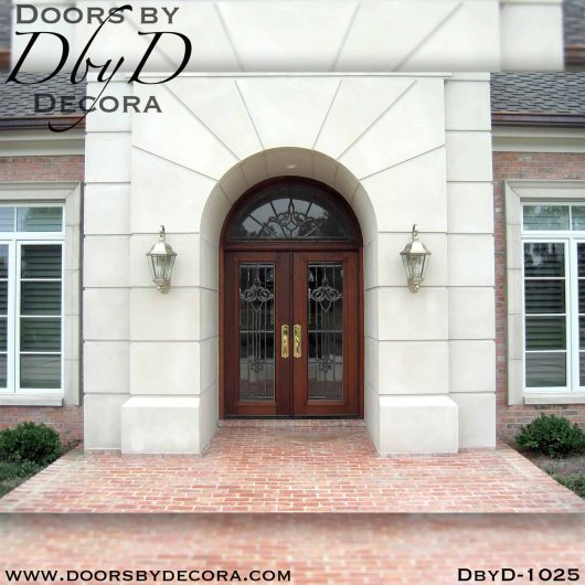 estate leaded glass double doors and transom