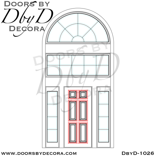 estate solid door with leaded glass transom
